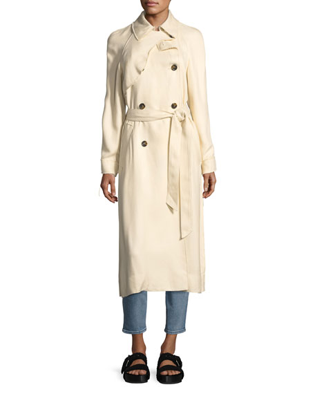 Dakotah Double-Breasted Drapey Trench Coat