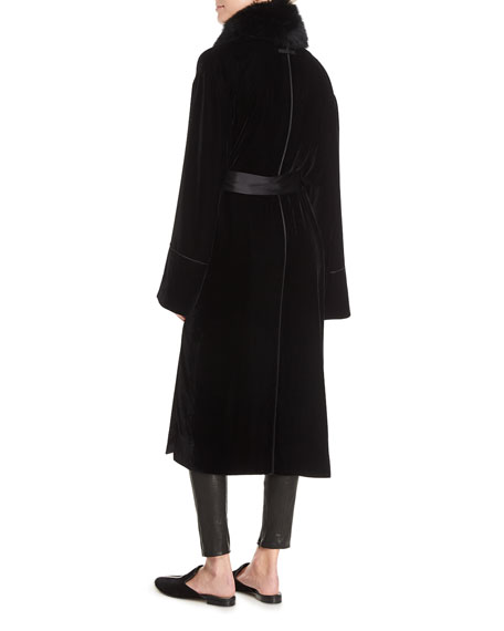 Mitzi Open-Front Belted Long Velvet Jacket with Fur
