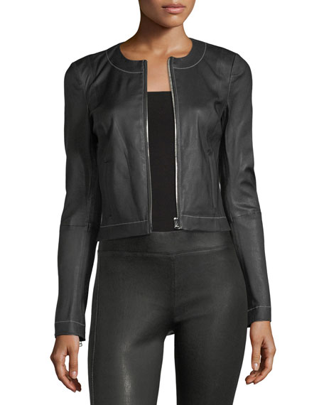 Helen Zip-Front Fitted Leather Jacket with Contrast Stitching