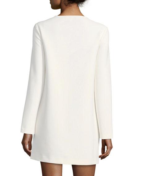 Kyle Crewneck Long-Sleeve Crepe Dress