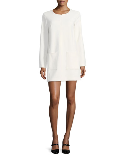 Kyle Crewneck Long-Sleeve Crepe Dress