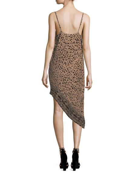 Sahara Cowl-Neck Asymmetric-Hem Leopard-Burnout Velvet Dress