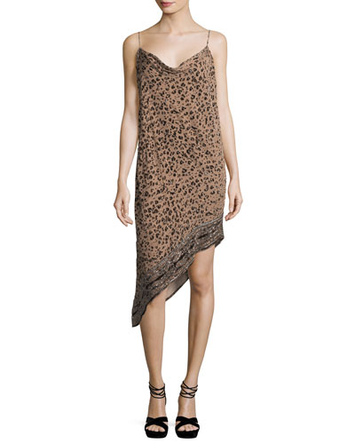 Sahara Cowl-Neck Asymmetric-Hem Leopard-Burnout Velvet Dress