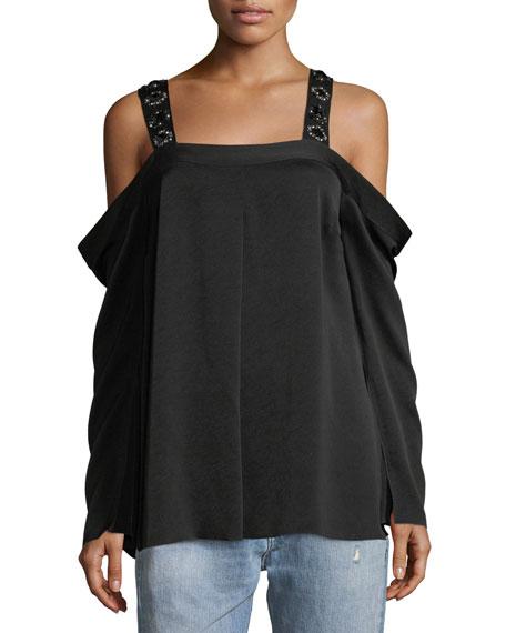Yera Cold-Shoulder Embellished-Strap Blouse
