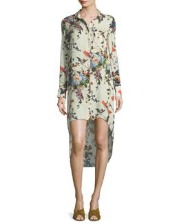 Debutante Floral-Print Button-Front Silk Dress