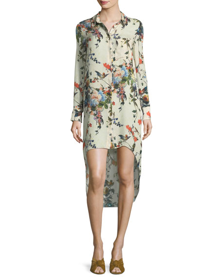 Debutante Floral-Print Button-Front Silk Dress