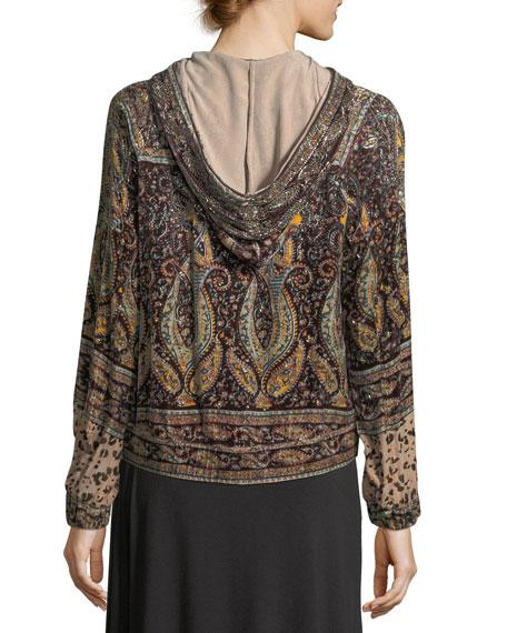 Sahara Hooded Zip-front Beaded Printed Bomber Jacket