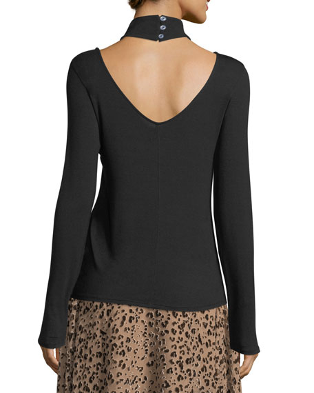 Halfway There Mock-Neck Long-Sleeve Stretch-Knit Top