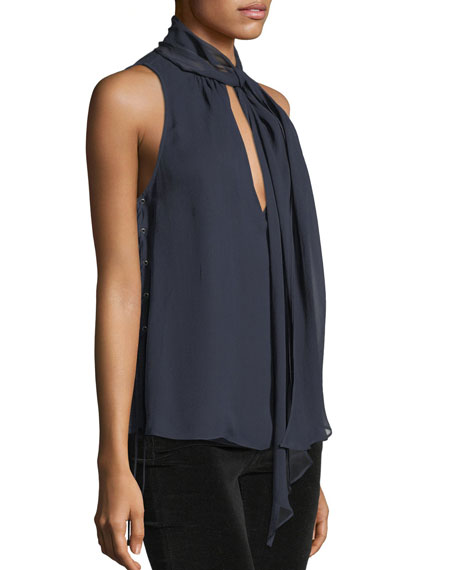 Bouvier Tie-Neck Lace-Sides Silk Halter Top