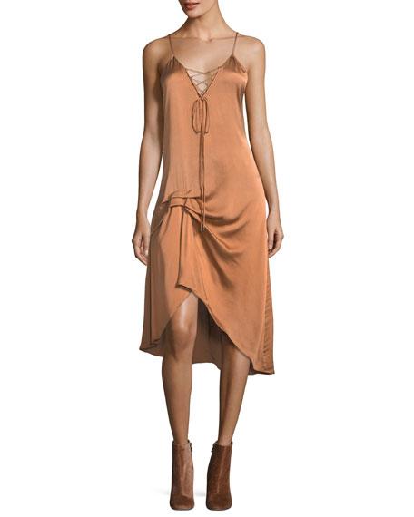 Hampton Lace-Front Satin Slip Midi Dress