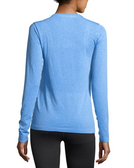 Threadborne Seamless Long-Sleeve Performance Top, Medium Blue
