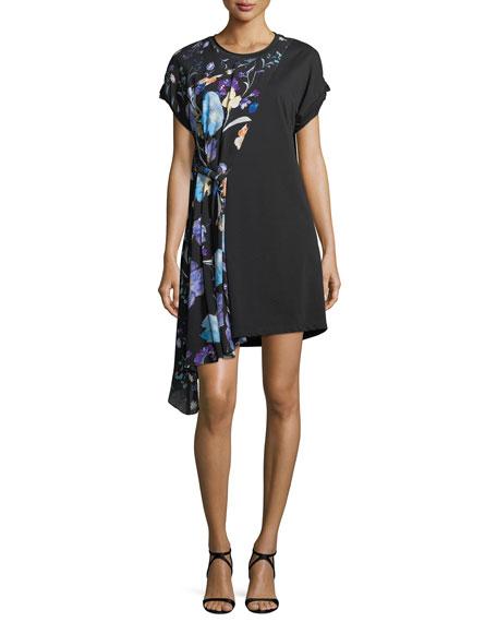 Short-Sleeve Floral-Print Silk Dress
