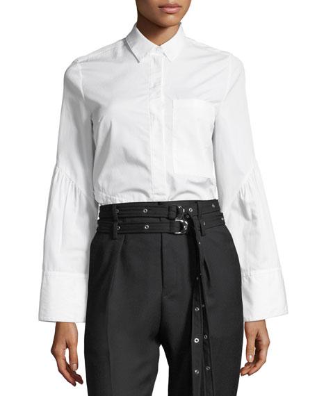 Long-Sleeve Button-Front Asymmetric Poplin Top