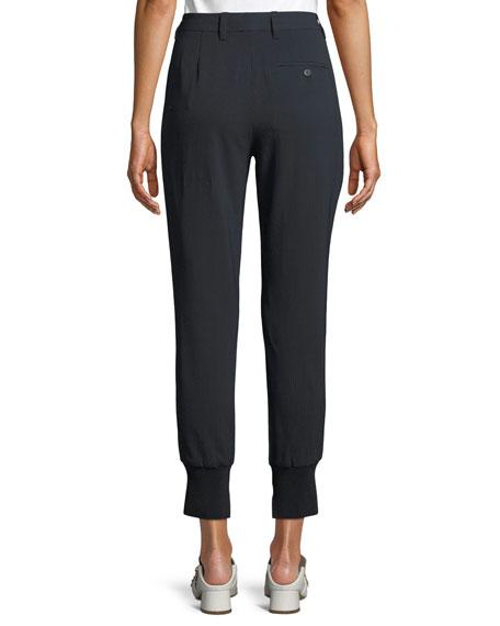 Pinstripe Cotton Jogger Pants