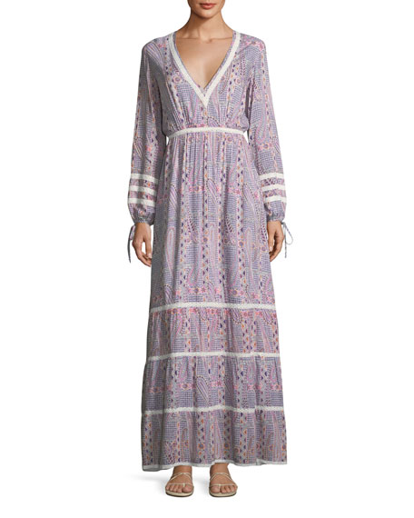 Kristen Deep-V Long-Sleeve Paisley-Print Maxi Dress