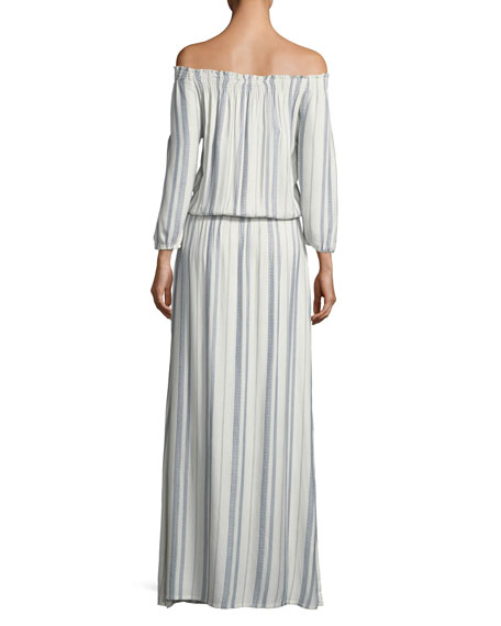 Amber Off-the-Shoulder Striped Maxi Dress, One Size