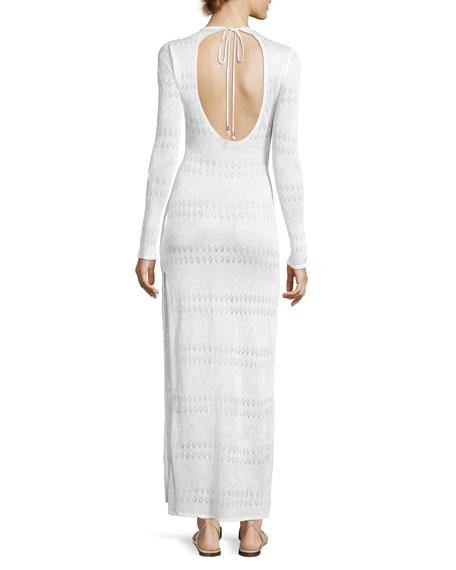 Melissa Crewneck Long-Sleeve Crochet Lace Maxi Dress