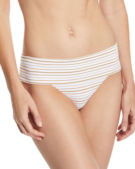 Brussels Metallic-Striped Luxe Swim Bottoms