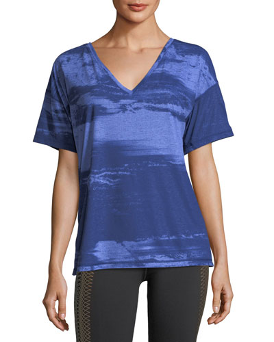 Dancer V-Neck Short-Sleeve Printed Drapey Tee