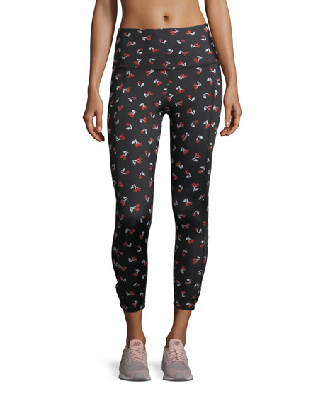 x kate spade new york luxe floral cinched side-bow leggings