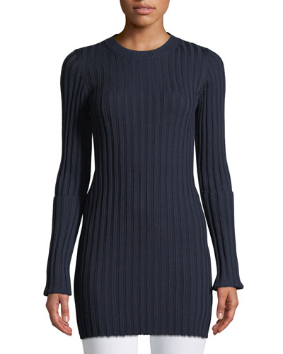 Merino Ribbed Long Tunic Sweater