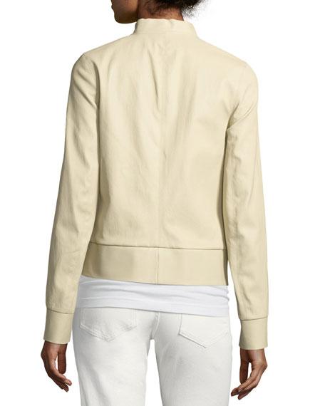 Leather Zip-Front Bomber Jacket