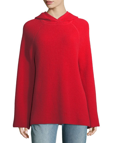 Tristan Cashmere Hooded Waffle Sweater