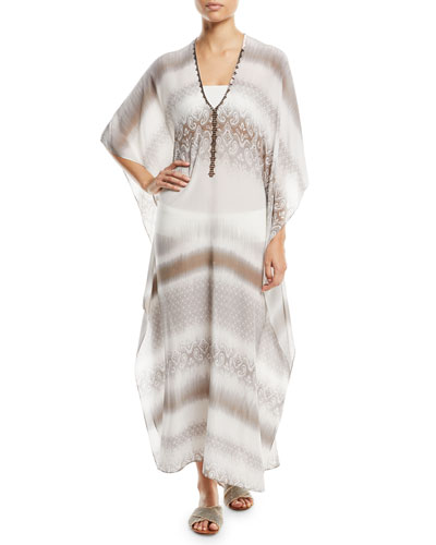 Metallic-Trim Silk Boubou/Caftan Coverup, One Size