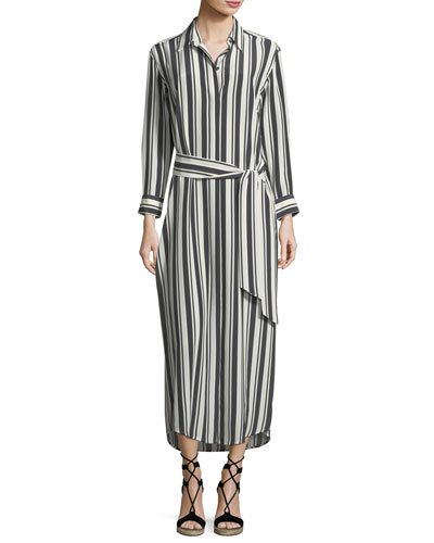 Button-Front Long-Sleeve Striped Silk Coverup Maxi Dress