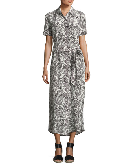 Short-Sleeve Button-Down Printed Maxi Dress