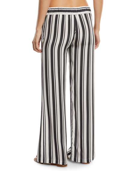 Wide-Leg Silk Striped Coverup Pants