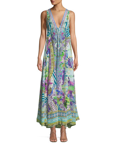 V-Neck Sleeveless Drawstring-Waist Printed Silk Dress, One Size