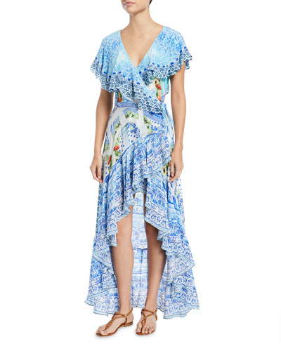 Frill Sleeve Long Silk Beach Dress