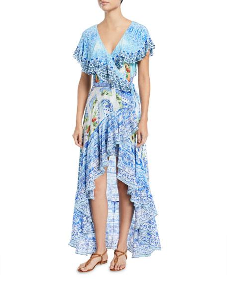 Frill Sleeve Long Silk Beach Dress