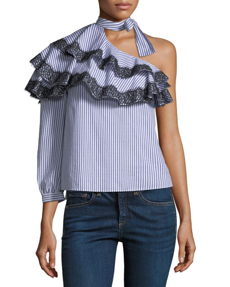 Isla Striped One-Shoulder Blouse