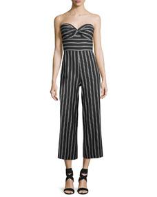 d89a5b80b29 Veronica Beard Cypress Strapless Striped Wide-Leg Jumpsuit