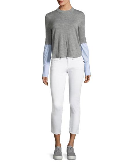 Brooke Fray-Hem Low-Rise Skinny Jeans