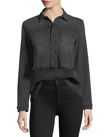 Zuma Lace-Up Cropped Denim Jacket