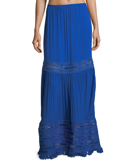 Image 1 of 1: Diona Maxi Skirt with Embroidery and Fringe