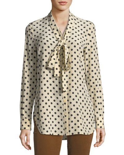 Polka Dot Silk Tie-Neck Blouse