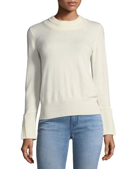 Festive Cashmere Crewneck Sweater, Antique White