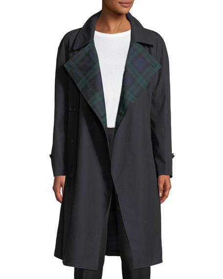 Tartan-Lined Gabardine Trenchcoat