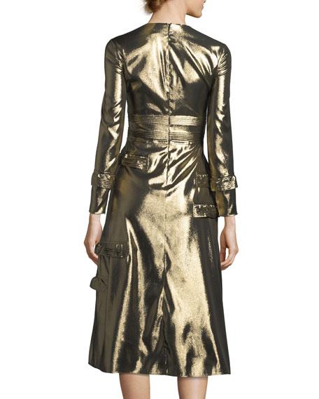 Long-Sleeve Metallic Ruffle-Trim Dress