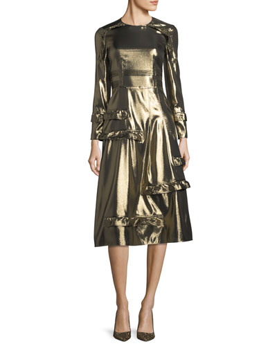 Long-Sleeve Metallic Ruffle-Trim Dress