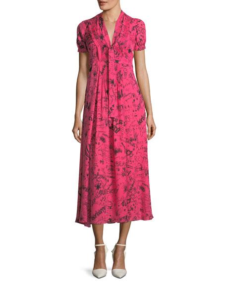 ANTONIANA DOODLE DRESS IN MULBERRY SILK