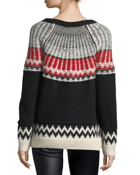 Float-Stitch Fair Isle Sweater