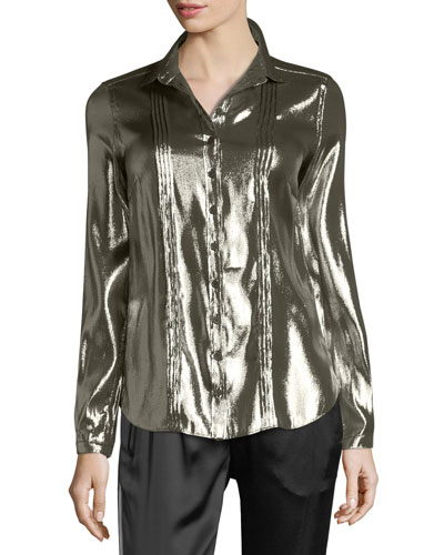 Metallic Button-Front Blouse