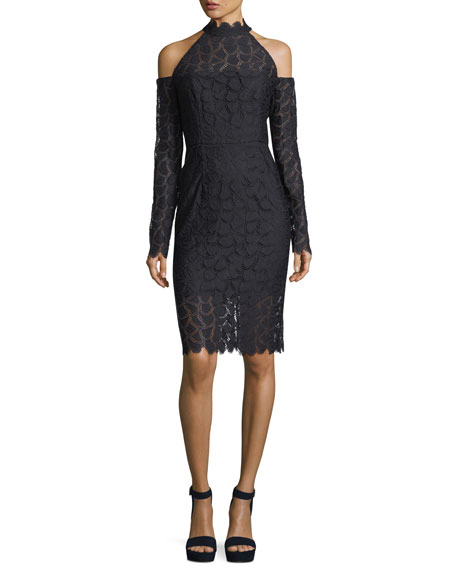 Mira Cold-Shoulder Lace Sheath Cocktail Dress