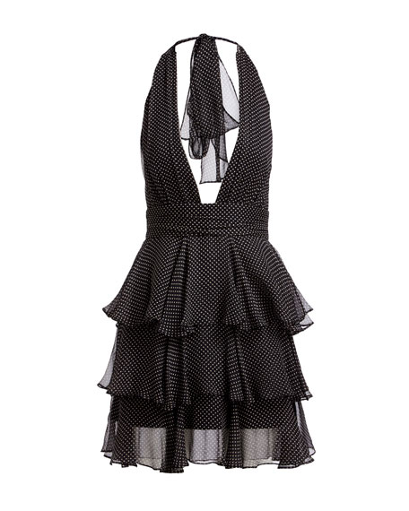 Mia Polka Dot Silk Tiered Mini Cocktail Dress