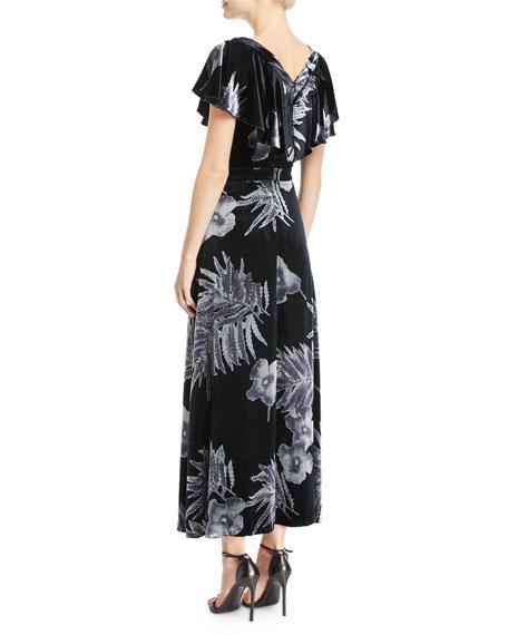 Portia Floral-Print Velvet Dress